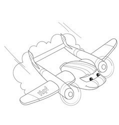 cartoon coloring helicopter with faces live vector image