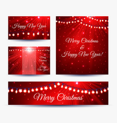 christmas banners with garlands vector image