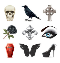gothic attributes icons vector image vector image