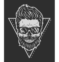 Skull glasses and geometric elements vector image