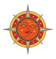 sun and moon isolated on white background vector image