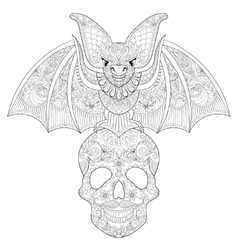 Zentangle stylized Bat seating on sugar Skull for vector image vector image