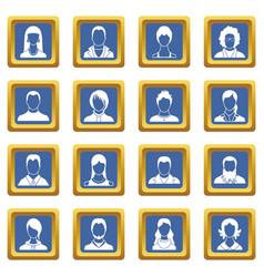 avatars set icons set blue vector image vector image
