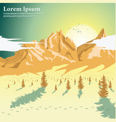 beautiful mountain landscape with coniferous trees vector image