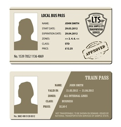 Bus and train pass set vector image