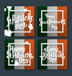 happy saint patricks day lettering on flag set vector image