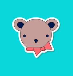 paper sticker on stylish background kids toy bear vector image vector image