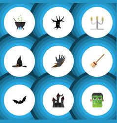 flat icon halloween set of magic candlestick vector image