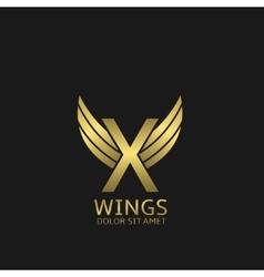 Golden X letter logo vector image vector image