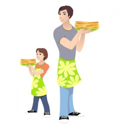 men and boy vector image vector image