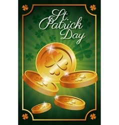 st patrick day gold coins shiny celebration vector image vector image