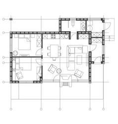 Standard living room furniture symbols set vector