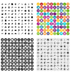 100 pets icons set variant vector