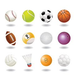 12 ball icons vector image