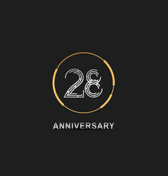 28 anniversary logotype with silver number vector