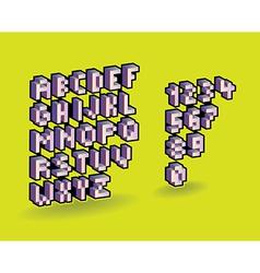 3d pixel alphabet vector image