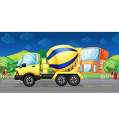 A cement truck running in the street vector image