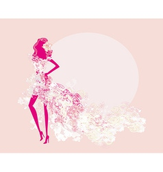 Abstract spring girl silhouette vector