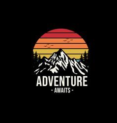 Adventure awaits merchandise design vector