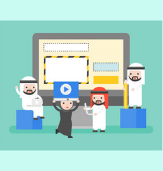 arab people helping manage website on laptop vector image