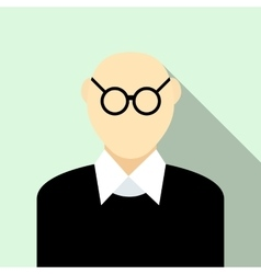 Bald man with glasses icon flat style vector
