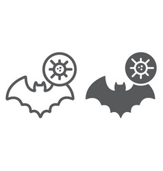 Bat coronavirus line and glyph icon virus and vector