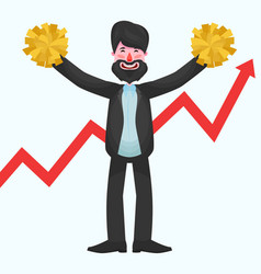 Bearded businessman is standing with yellow vector