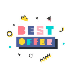Best offer modern banner template in memphis style vector