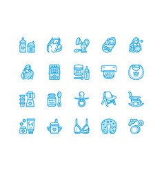 breastfeeding baby food flat line icons vector image