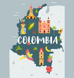 Bright map colombia travel banner vector