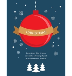 card with Christmas ball and seasonal objects vector image vector image