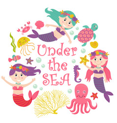 card with mermaid under the sea vector image