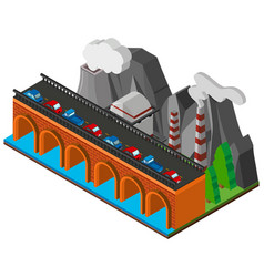 Cars on bridge across the river vector