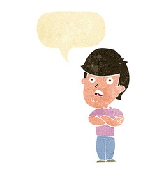 cartoon disappointed man with speech bubble vector image