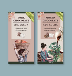 Chocolate packing design with woman harvesting vector