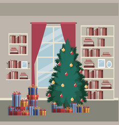 Christmas home scene with window background and vector