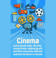 Cinema concept banner cartoon style vector