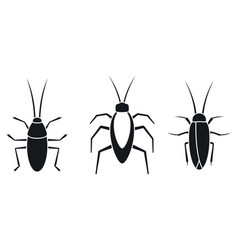 Cockroach insect icons set simple style vector