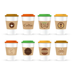 Coffee cup coffee package isolated on white vector