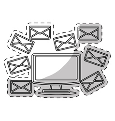 Computer and envelope icon vector