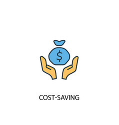 Cost-saving concept 2 colored icon simple blue vector