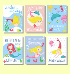 Cute mermaid cards template set vector