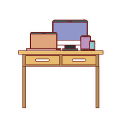 Desk table with drawers front view with tech vector