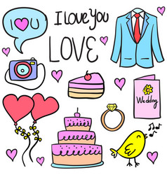 Doodle of wedding collection style vector