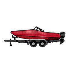 Drawn boat with trailer transport maritime image vector