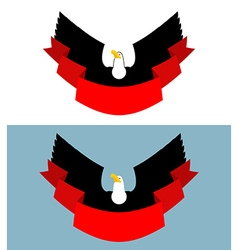 Eagle and red ribbon Bird of prey for symbol vector