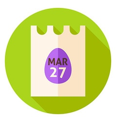 Easter Calendar Poster with Egg Circle Icon vector
