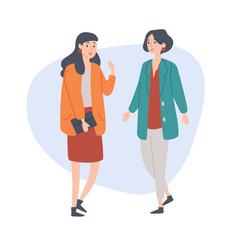 female friends talking spending time together vector image