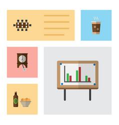 flat icon oneday set of whiteboard beer with vector image