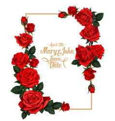 floral wedding picture frame vector image